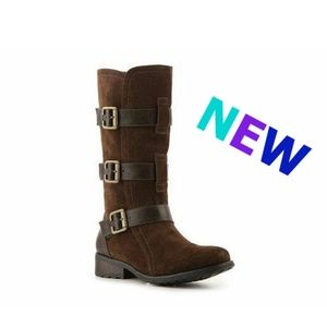 New EDDIE BAUER Leather 3-Buckle mid-calf Boots